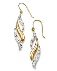 Crystal Glitz 9ct Gold Spiral Earrings