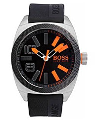BOSS Orange Black Leather Strap Watch