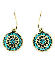 Turquoise and Gold-tone Drop Earrings