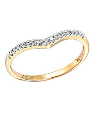 9 Yellow Gold Diamond Set Wishbone Ring