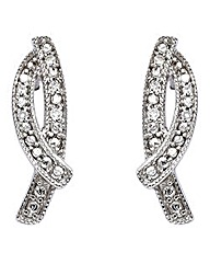 9 Carat White Gold Diamond Earrings