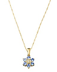 White Gold Tanzanite Flower Pendant