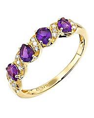 9 Carat Gold Four Stone Amethyst Ring