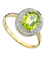 9 Carat Peridot Diamond-Set Oval Ring