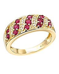 9 Carat Ruby and Diamond-Set Pave Ring