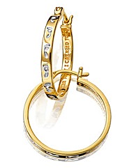 9ct Gold Plated Footprints Hoop Earrings
