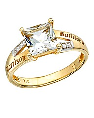 Precious Sentiments Square Stone Ring
