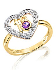 9 Carat Amethyst Eighteen Age Heart Ring