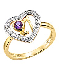 9 Carat Gold Amethyst Twenty One Ring