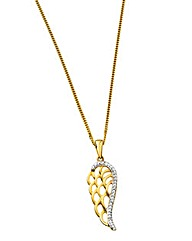 9 Carat Diamond Set Angel Wing Pendant