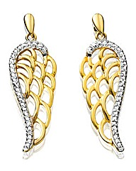 9 Carat Gold Angel Wing Earrings