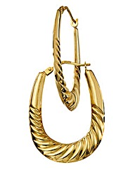 9 Carat Gold Hollow Large Hoop Earrings