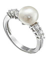 Silver Pearl and Cubic Zirconia Ring