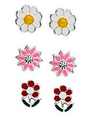 Sterling Silver Set of 3 Flower Earrings
