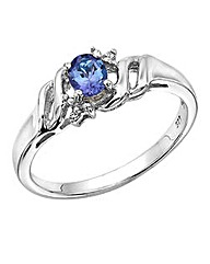 Sterling Silver Tanzanite Diamond Ring