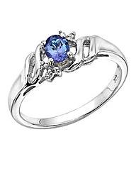 Sterling Silver Tanzanite Diamond Ring