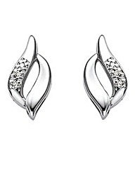 Sterling Silver Diamond-Set Earrings