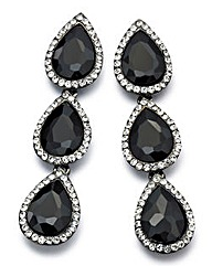 Black Glitzy Drop Earrings