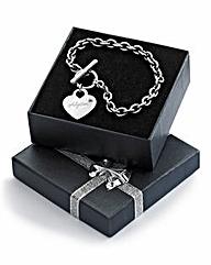 Personalised Heart T-bar Bracelet