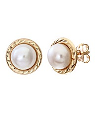 9 Carat Yellow Gold Pearl Studs