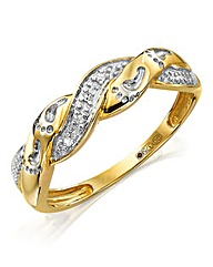 Gold Footprints Diamond Crossover Ring