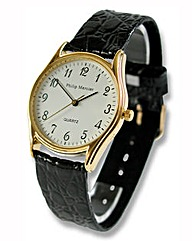 Gents Philip Mercier Black Strap Watch