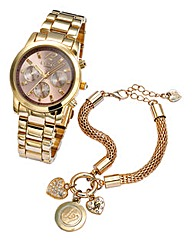 Lipsy Gold-tone Watch and Bracelet