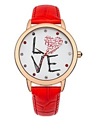 Morgan Red Strap Love Watch