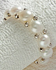 Freshwater Pearl and Silver Stretch Ring