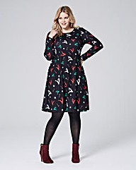 Jersey Black Christmas Print Swing Dress