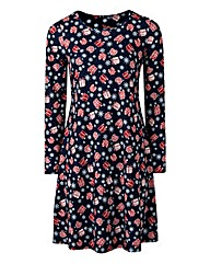 Jersey Christmas Print Swing Dress