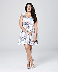 Ivory Print Sweetheart Skater Dress