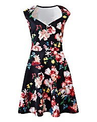 Black Print Sweetheart Skater Dress