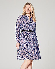Navy Print Skater Shirt Dress