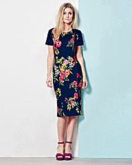 Navy Floral Lace Trim Shift Dress