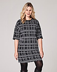Black Check Pocket Shift Dress