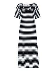 Navy Stripe Jersey Maxi T-shirt Dress