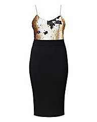 AX Paris Sequin Two Tone Midi Dress