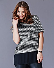 Simply Be Houndstooth Sheer Hem Tunic