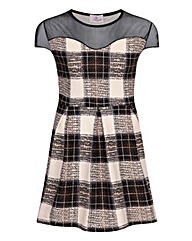 Praslin Mesh Panel Check Skater Dress