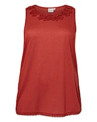 Junarose Lace Trim Sleeveless Top