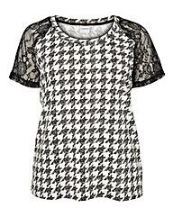 Junarose Lace Sleeve Stripe T-shirt