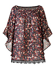 AX Paris Ditsy Print Bell Sleeve Top