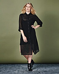 Simply Be Sheer Maxi Shirt Dress