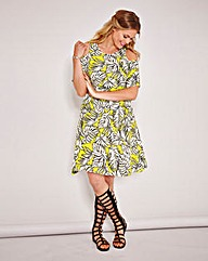 Simply Be Palm Print Cold Shoulder Dress