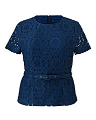 Darling Fitted Lace Belted Top