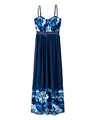Little Mistress Navy Border Print Maxi