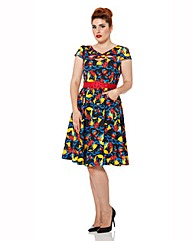 Voodoo Vixen Cat and Flower Print Dress