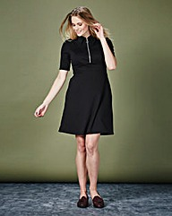 Simply Be Ponte Zip Front Dress