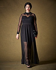 Simply Be Sheer Hem Maxi Dress